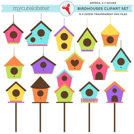 birdhouses clipart set clip art set of birdhouses bird homes rh etsystudio com birdhouse clipart free cute birdhouse clipart
