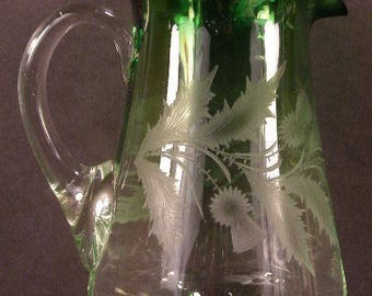 19th c Moser Baccarat Rubina Verde Cut to Clear Intaglio Crystal Thistle Pitcher