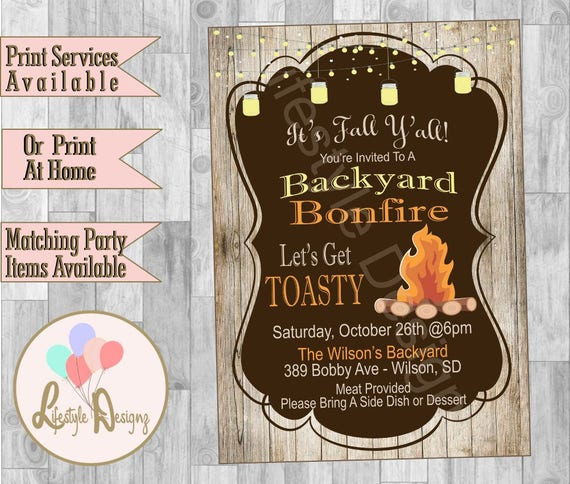 rustic backyard bonfire invitation bonfire party invite