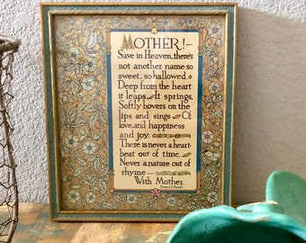 vintage framed MOTHER! poem by Francis E Straw
