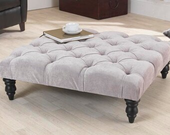 3ft Jacobs Grey Velvet Chesterfield Footstool/Coffee Table with DARK BROWN LEG