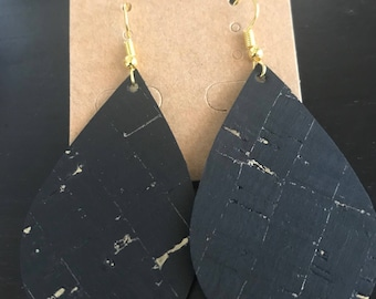 Black with gold speckles cork earrings