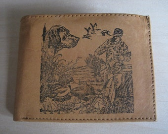 """Mankind Wallets Men's Leather RFID Blocking Billfold w/ """"Duck Hunting"""" Image~Makes a Great Gift!"""