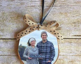 Engagement Photo Ornament | Custom Photo Ornament | Personalized Wood Ornament | Christmas Ornament | Hand lettered | Rustic Decor