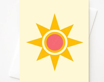 Sunshine, Blank A2 greeting card with envelope by Amber Leaders