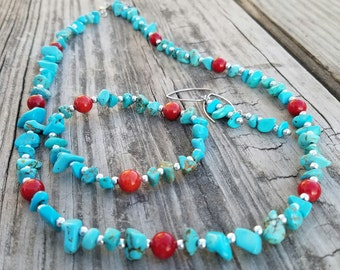 Turquoise  Chips N Coral jewelry set