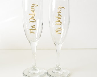 Custom Champagne Glasses, Bride Toasting Glass, Custom Champagne Flute, Toasting Flutes, Bridesmaid Flutes, Bridesmaid Champagne Flutes