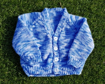 Hand knitted v-neck baby cardigan