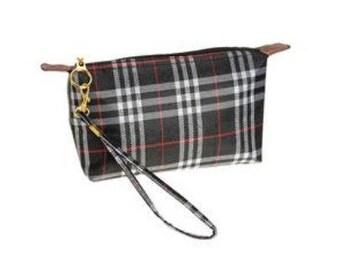 Plaid - Monogrammed Wristlet - Monogrammed Bag - Small Zipper Bag - Personalized Bag - Personalized Gift
