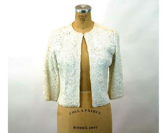 1960s jacket white ribbon jacket wrap cropped dressy jacket Size M Francea Kahn