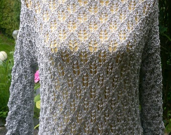 Ajour pattern sweater, grey silver, Gr. 38-40, UK12, US 10