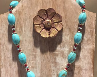 Turquoise Colored Beaded Necklace with Red and Silver Bead Embellishments with Matching Drop Earrings