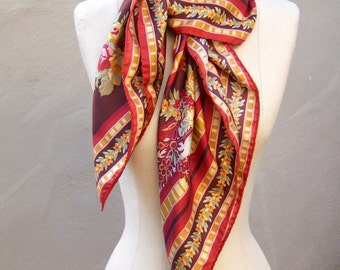 Oscar de la Renta scarf / floral fall colors / GOLD rust brown sage butter peach / hand rolled edges / LARGE 35 square