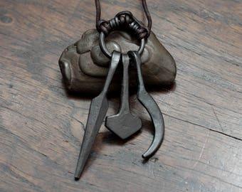 Uppsala Amulet Ring Pendant,  iron amulet with the symbols Odin, Thor and Freyr