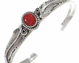 Navajo Red Coral Silver Ladies Bracelet Leaf and Swirl Design Cuff