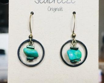 Turquoise blue stone drop earrings with metal hoop