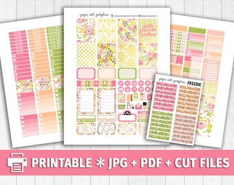 HELLO SUNSHINE Printable Planner Stickers/for use with Erin Condren/Weekly Kit/Spring Break Sun Bright Gold Glitter Headers Cutfile