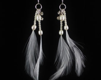 Freshwater Pearl Dangle Earrings with Feathers, Bride Wedding Jewelry, Long Cluster Drop