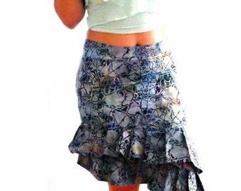 Mosaic asymmetrical ruffle skirt -blue gray flared skirt. Women party skirt. Size Small- Blue cotton skirt. Fashion low rise flirty skirt.