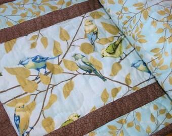 Quilted Table Runner, Bird Runner, Spring Table Runner, Handmade Table Runner,  14  x 40 inches