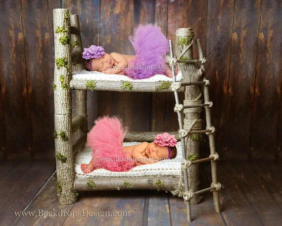 Twins photo prop bunk log bed newborn twins photography prop