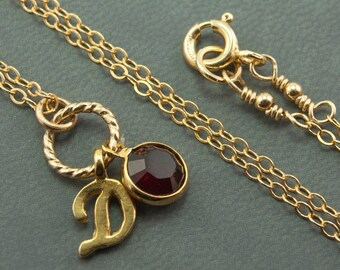 Personalized Grandmother Jewelry Birthstone Jewelry July Birthstone Necklace D Initial Necklace - 14kt Gold Filled Chain - Gold Necklace