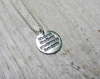 Foo Fighters Necklace Sterling Fine Silver PMC Pendant Necklace Lyrics Its times like these you learn to live again Inspirational Jewelry