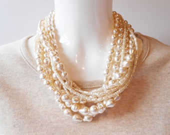 Pearl Necklace, Vintage Necklace, 8 Strand Pearls, Glamorous Pearls, Vintage Jewelry
