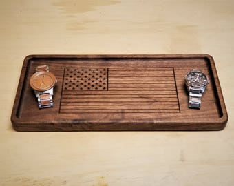 Large Valet Tray / Catchall Tray / Dump Tray Desk Organizer made from wood with American Flag Engraving