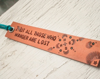 Leather bookmark -Not all those who wander are lost - J.R.R. Tolkien - Compass Rose - hand tooled leather - Made to Order