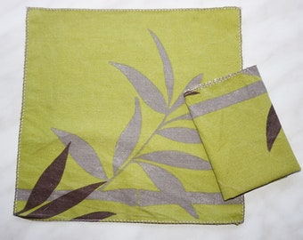 A set of 4 or 6 pocket squares, recycled fabric bamboo patterns