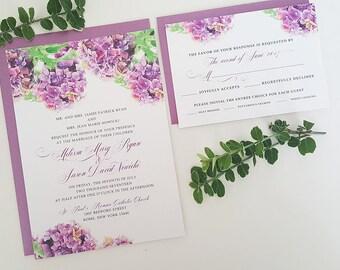 Purple Wedding Invitation, Hydrangea Wedding Invitation, Printable Wedding Invitation, Purple Wedding, Wedding Invitation, Hydrangea Wedding