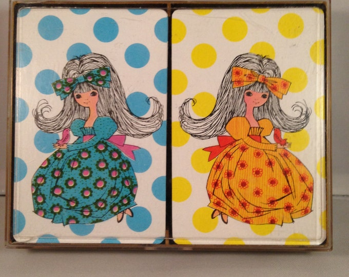 Playing Cards: Grovvy Girls in Maxi Dresses (1970s)