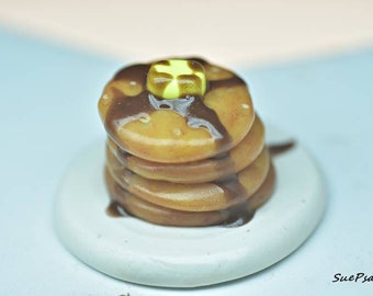 Miniature Pancakes, Miniature Food, 1:6 scale, Polymer Clay Food, Dolls and Miniatures, Fashion Doll Food, Barbie Food, Doll Food,