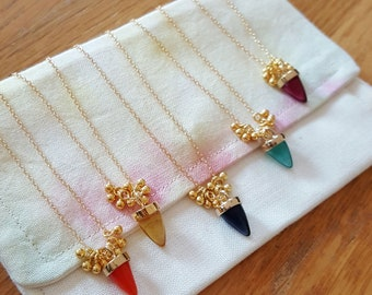 Indian Summer Necklace - Glass drop and gold filled chain