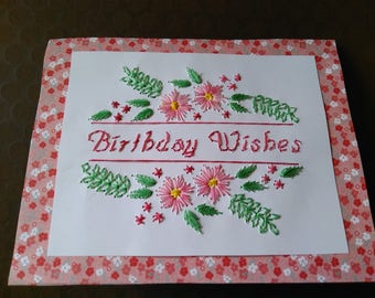 Birthday Wishes Floral Card, hand stitched
