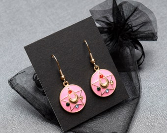 Sailor Moon Magical Girl earrings – gold tone and pink enamel – Sailor Senshi – Sailor Soldier – Sailor Scout jewellery / jewelry – cosplay