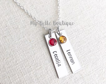 Personalized Hand Stamped Double Rectangle Tag Pendant Necklace with Swarovski Birthstones