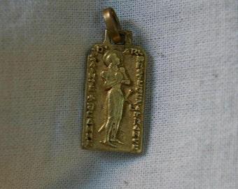 Medal saint Joan of arc old pendant bronze dore gold signed rare PY old vintage