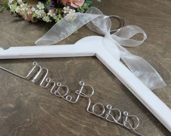 Bridal Hanger With Name - Bride Hangers - Bridal Accessories - Wedding Dress Hangers - Personalized Wire Hangers - Dress Wedding Hanger