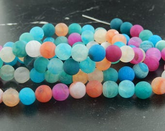 Frosted multicolor agate, 8mm set of 10 beads