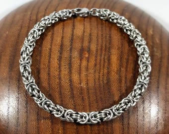 Simple Chain Bracelet - Stainless Steel - Byzantine Chainmaille Weave - Women's Chainmail Jewelry