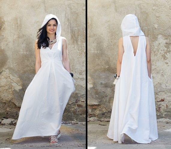 Boho Wedding Dress Beach Wedding Dress Linen Kaftan Dress