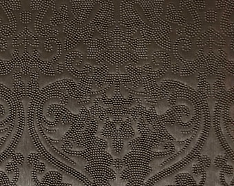 Vinyl Upholstery Fabric - Lyon - Bronze - Damask Designer Pattern Vinyl Home Decor Upholstery Fabric by the Yard - Available in 8 Colors