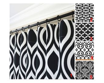 Black and White Window Curtains.Black White Drapes.Black White Custom Curtains.Black and White Kitchen Curtains.Damask Curtains