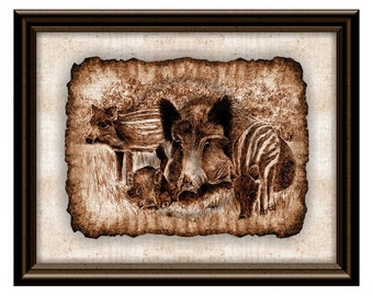 Wild Boar Art Print,Wild Boar Printable Drawing,Hunting,Wild boar Nursery,Illustration,Wild boar Wall Art,Gift,Wild Animal,Instant Download