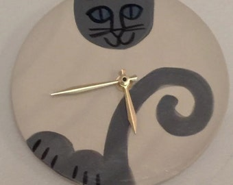 Siamese cat wall clock: handmade round black grey blue eyes ceramic pet resort decor - ON Sale Special