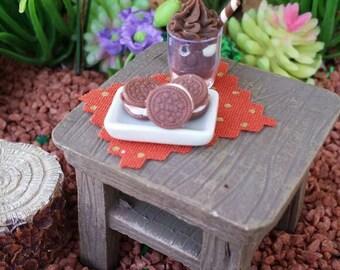 Fairy garden chocolate milkshake, dollhouse donut, miniature food, dollhouse milkshake, fairy donuts, fairy garden food, miniature donuts