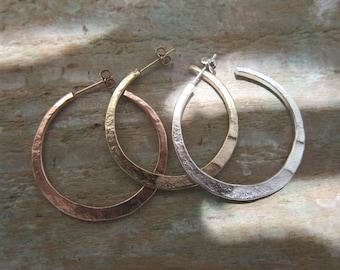 """Silver hoop earrings """"Kenza"""" Vermeil, sterling silver, hand made in France."""