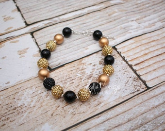 Baby necklace, baby jewelry, black and gold, baby girl necklace, chunky necklace, girl necklace, infant girl necklace, children necklace